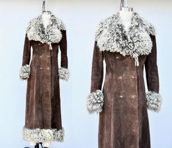 70s Leather & Mongolian Curly Lamb Wool Fur - Prin
