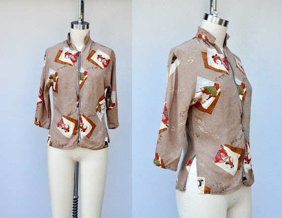40s Shirt - 40s Blouse - ASIAN Print - Novelty Pri