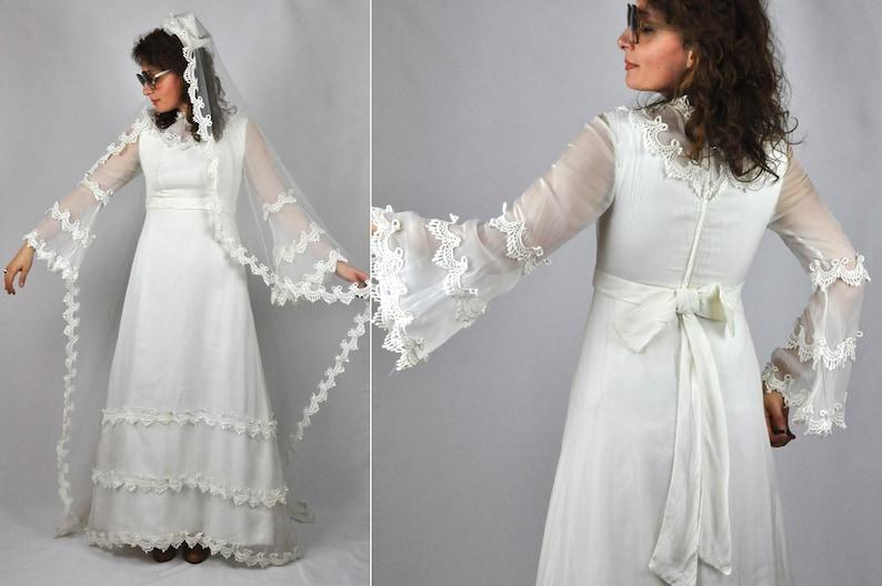 77fe89302b7b SALE 60s LACE Wedding Dress Bell Sleeves Long Lace Net | Etsy