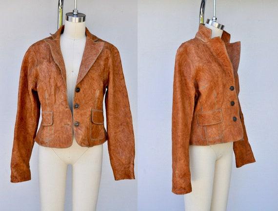 Vintage TEXTURED Leather Jacket - Brown Leather Ja