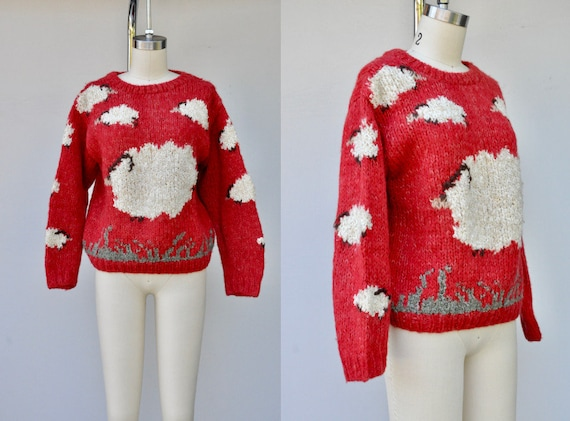 Vintage Novelty Sweater - White SHEEP Sweater - Re