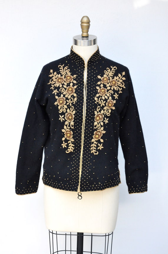 Vintage Cashmere Beaded Cardigan - 50s Black Cash… - image 7