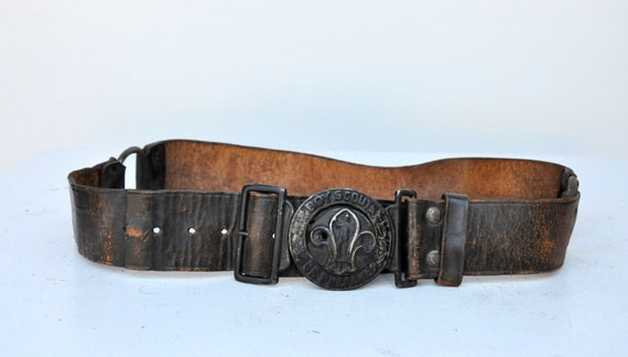 Vintage 30s 40s Boy Scouts Leather Belt - BSA Lea… - image 10