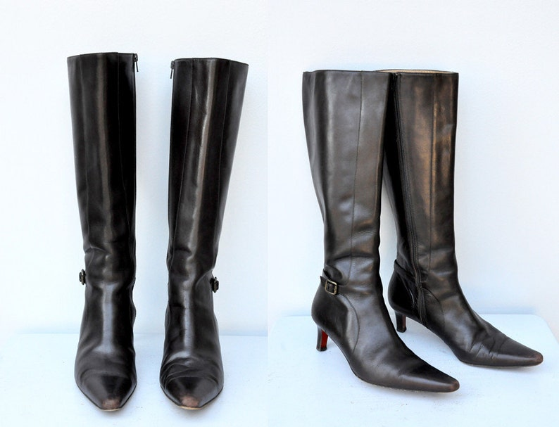 7fe5052fdbf13 SALE 90s Ralph Lauren Boots - Dark Brown Leather Boots - Knee High Boots -  High Heels Boots - Designer High Fashion Boots Made in Italy 8 B