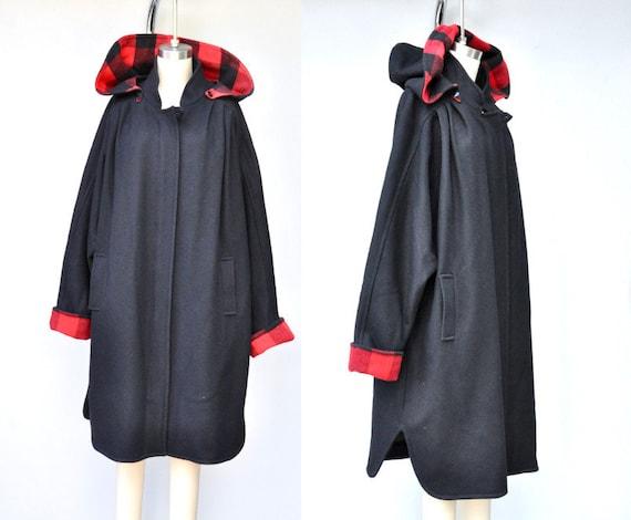 Vintage Hooded OVERSIZED WOOL Coat - Cocoon Wool C