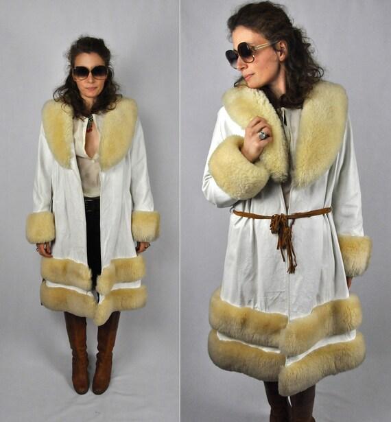 White SALE amp; Trim Leather Princess Coat M Leather Jacket Famous White Coat Vintage WOOL SHEARLING Boho Almost S Coat Coat Princes qPzqw