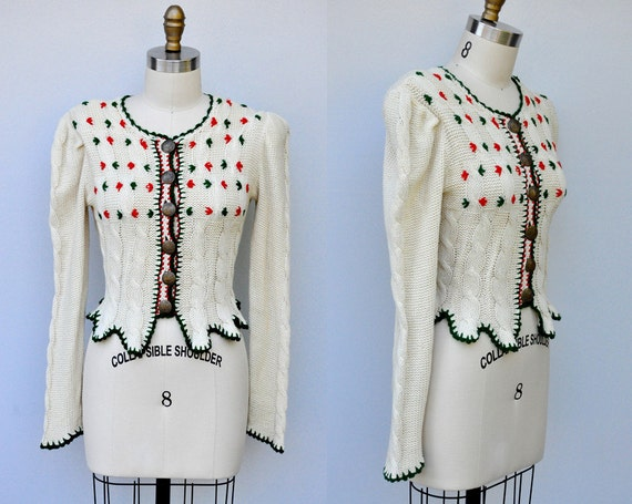 Vintage 40s Sweater - 40s Cardigan - Knit Sweater