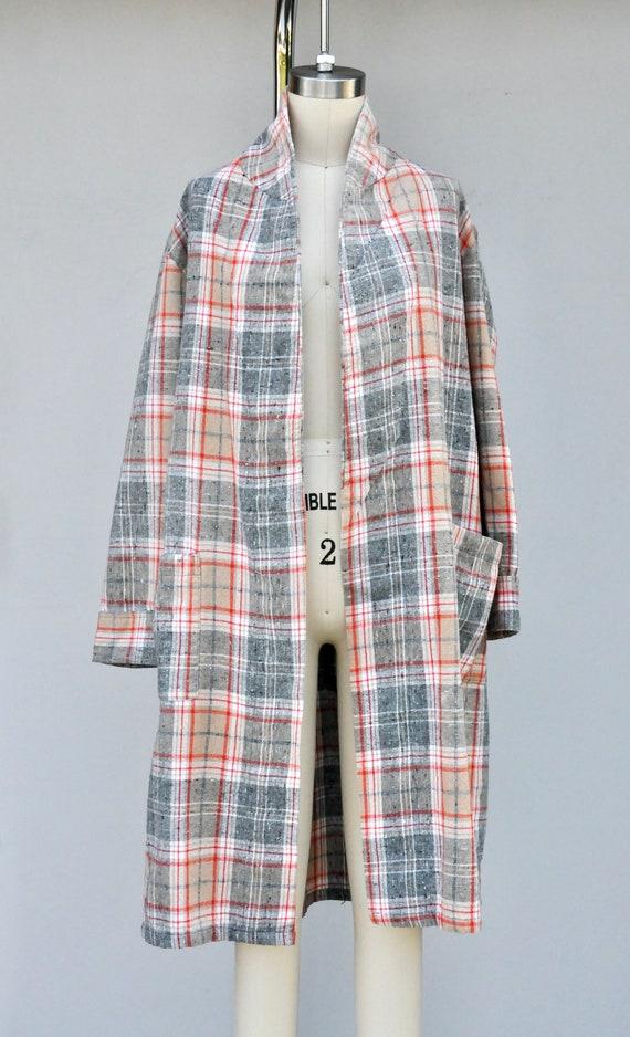Vintage Unisex Robe - Checkered Plaid Robe - Bed … - image 8