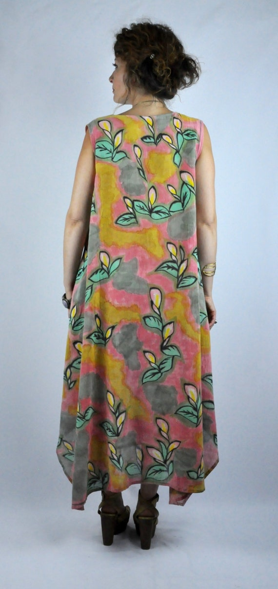 OS Oversized Floral Button Tent Hemp Sleeveless Asymmetrical SALE Boho Front Painted Dress Hand Linen Down Pockets Dress free R4qnT6