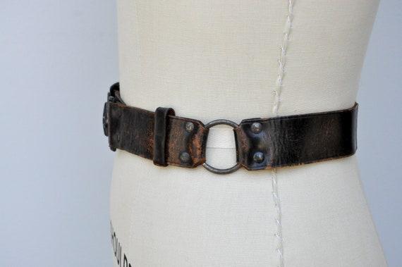 Vintage 30s 40s Boy Scouts Leather Belt - BSA Lea… - image 6