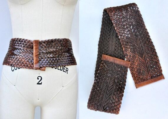 Vintage Wide Leather Belt - Woven Leather Belt - D