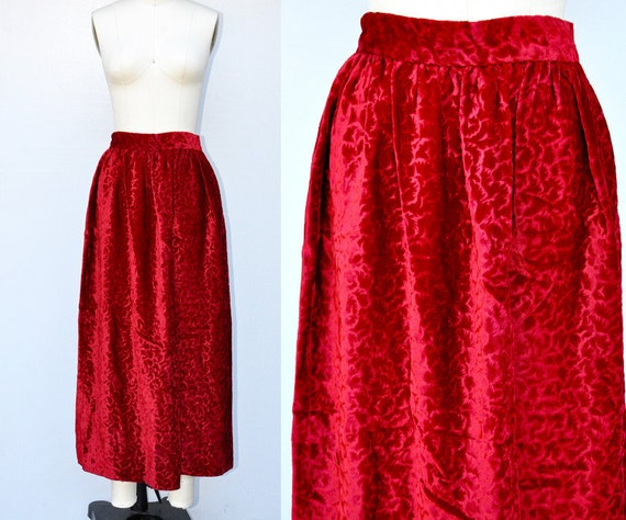 RED Crushed Velvet Maxi Skirt - Red Velvet Skirt -