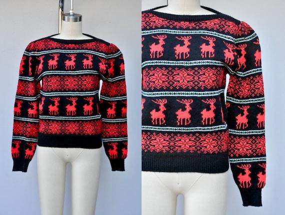 Vintage Reindeer Snow Flakes Sweater - Winter Swe… - image 1