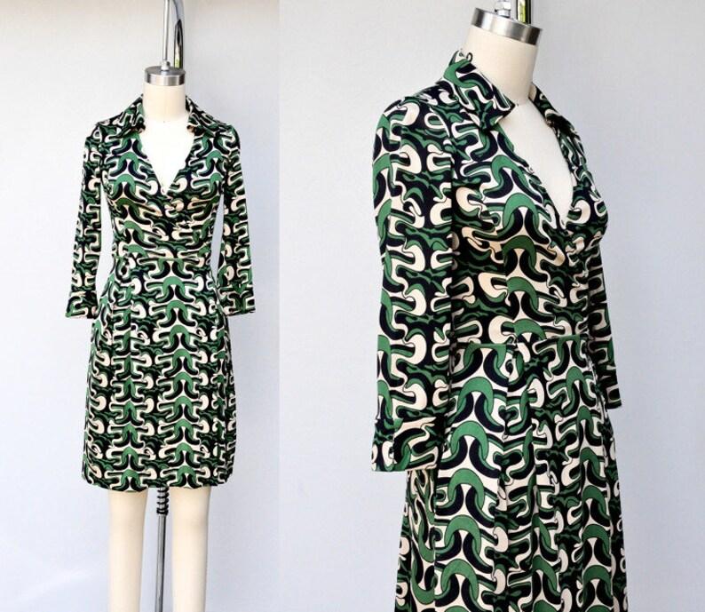 ea78f9cbe1c9bb SALE Diane Von Furstenberg SILK Dress DVF Silk Wrap Dress