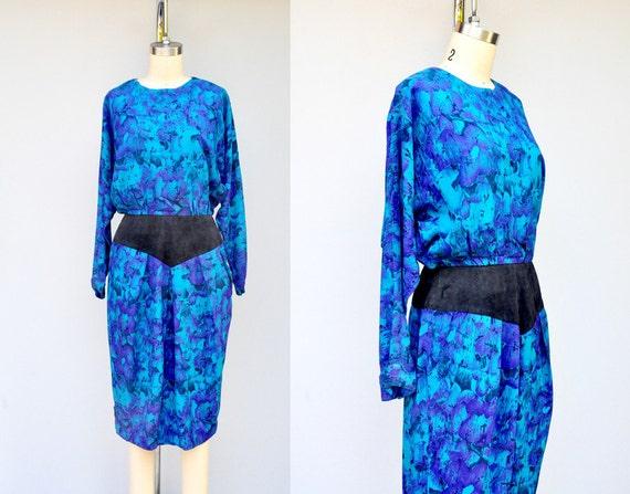 SILK Dress - 80s Floral Dress - Batwing Sleeves -
