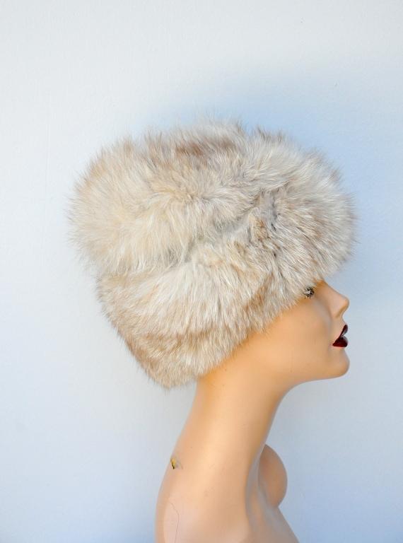 Vintage FOX Fur Hat - 50s 60s Mid Century Fox Fur… - image 7