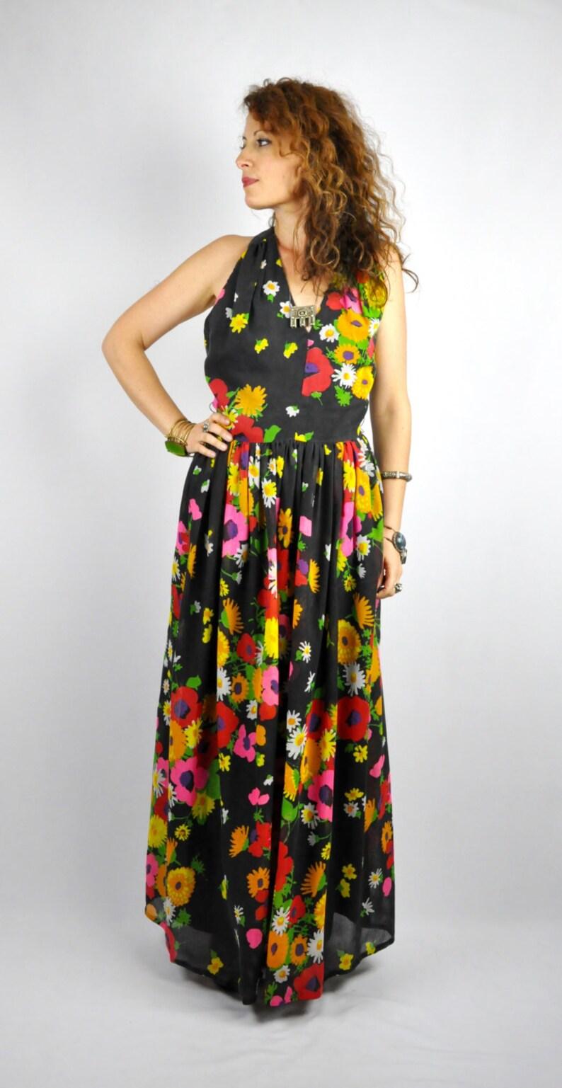 Floor Length Dress M Halter Dress Floral Maxi Dress Boho Gypsy Hippie Sundress  S Maxi Dress Halter Dress 70s Maxi Dress