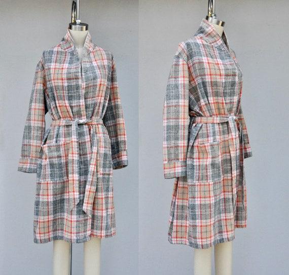 Vintage Unisex Robe - Checkered Plaid Robe - Bed … - image 1