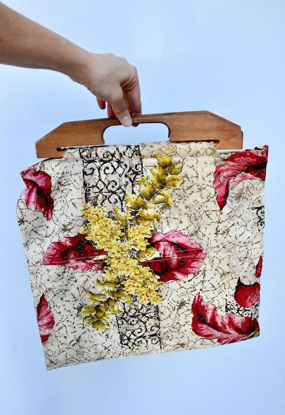 Vintage 40s Bag - Wood Handle Bag Purse - 40s Fab… - image 7