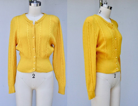 70s Mustard Yellow Wool Cardigan Sweater Jaeger London Etsy