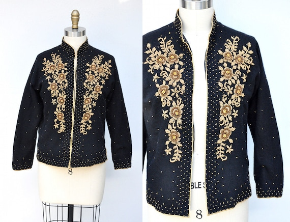 Vintage Cashmere Beaded Cardigan - 50s Black Cash… - image 1