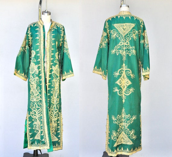 Embroidered DUSTER Coat - Emerald Green & Gold Emb