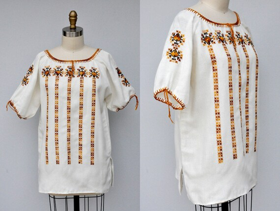 Vintage Embroidered Peasant Blouse - Embroidered B