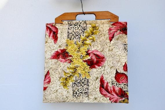 Vintage 40s Bag - Wood Handle Bag Purse - 40s Fab… - image 8