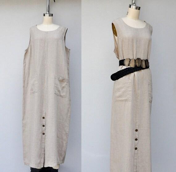Vintage Linen Dress - Oversized Dress - Pinafore D