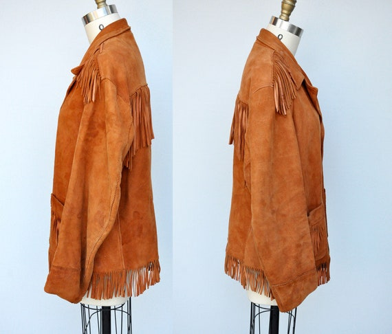 Vintage Fringed Leather Jacket - Leather Jacket -… - image 4