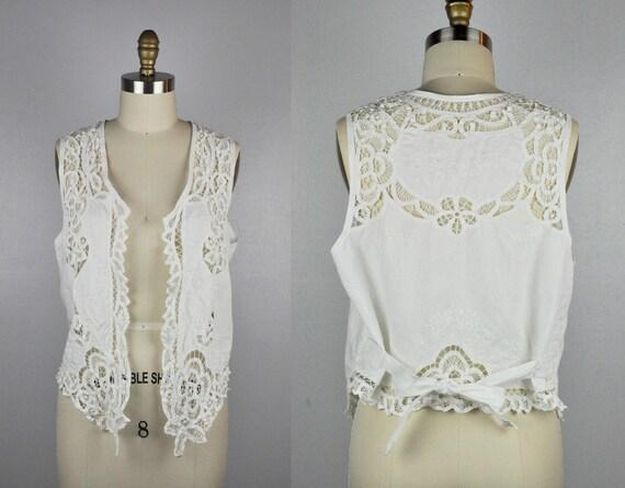 Linen LACE Vest - Embroidered Vest - EYELET White