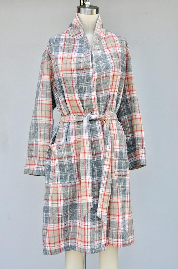 Vintage Unisex Robe - Checkered Plaid Robe - Bed … - image 6