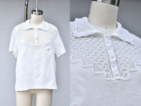Vintage White Blouse with Cotton Lace Bib and Coll
