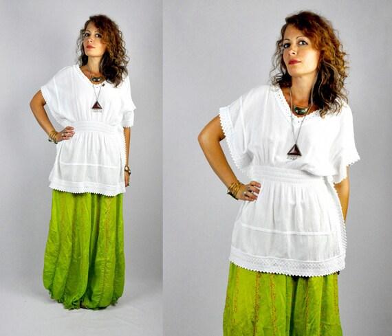 White Mexican Blouse - Cotton Gauze - Crochet LACE