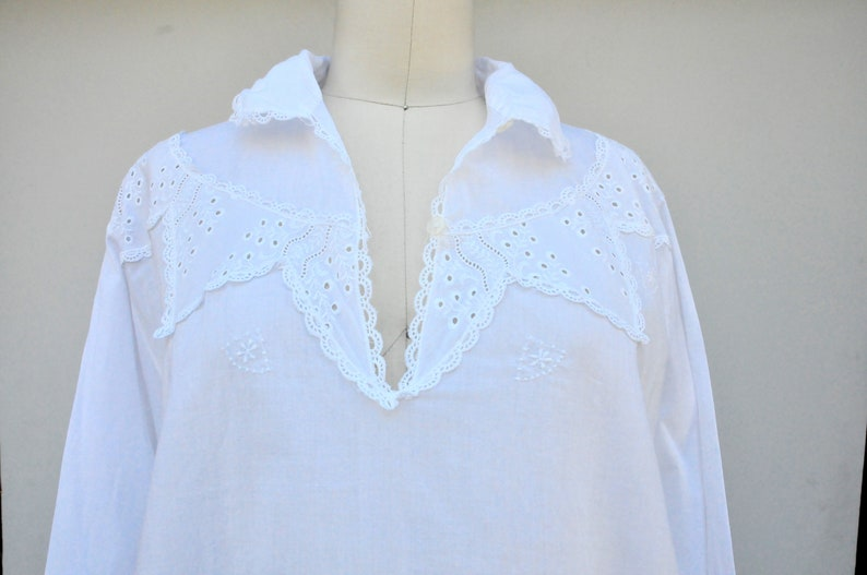 112b73a3ab SALE Vintage Nightgown Nightdress Sheer Cotton   LACE EYELET