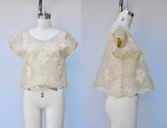 Vintage LACE Blouse - Lace Top - Floral Lace - She