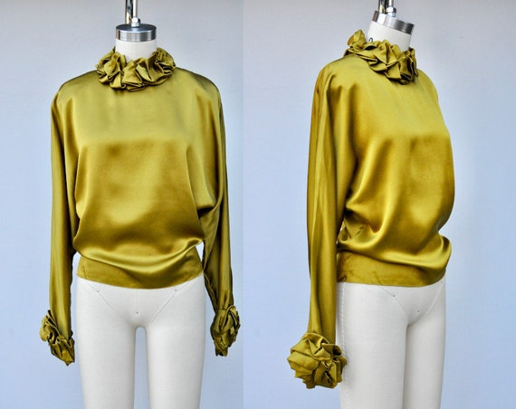Vintage Green Liquid Satin Blouse with Ruffled Nec