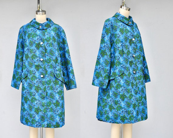 50s 60s Mod Duster Coat - Floral Duster Coat with… - image 1