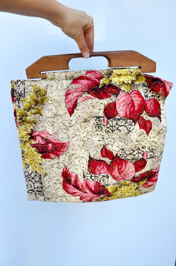 Vintage 40s Bag - Wood Handle Bag Purse - 40s Fab… - image 6