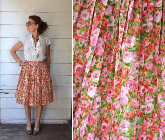 Vintage 50s Full Skirt - Floral 50s Skirt - 50s Pl