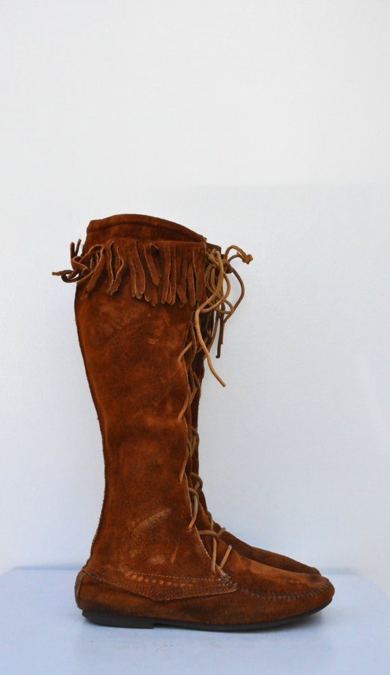 HighBoots VENTE MINNETONKA genou bottes su cuir Tall Boots en en up Lace mocassins tdtrwIq