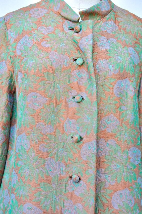 60s Mod Duster Coat - Flowers & Leaves Duster Coa… - image 6