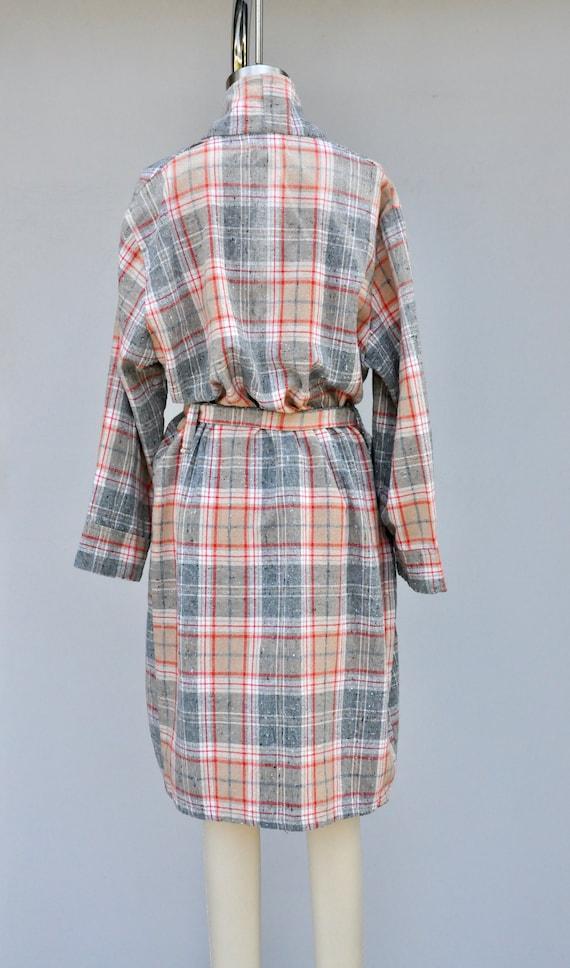Vintage Unisex Robe - Checkered Plaid Robe - Bed … - image 4