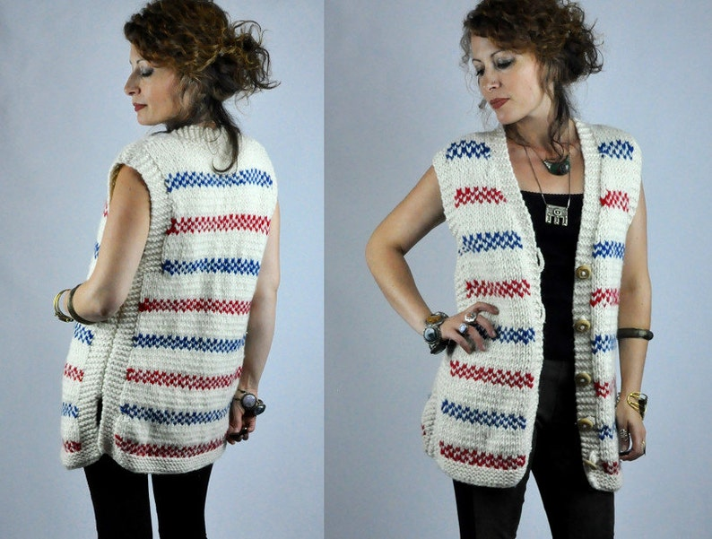 SALE CHUNKY Wool Sweater Vest M Striped Nordic Minimalistic THICK Hand Knit Button Up Front Sleeveless Sweater Knitted Vest Heavy Wool S