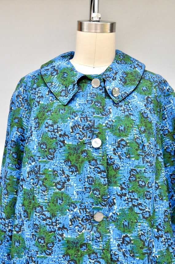 50s 60s Mod Duster Coat - Floral Duster Coat with… - image 2