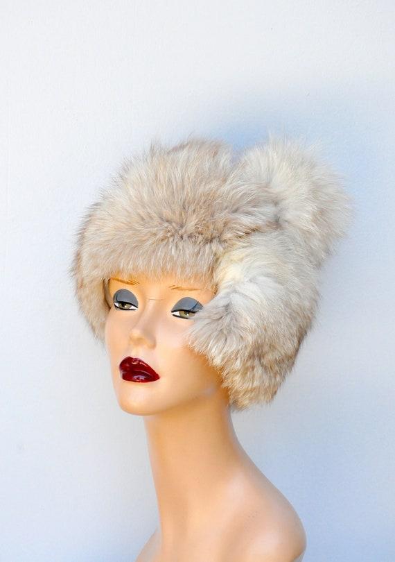 Vintage FOX Fur Hat - 50s 60s Mid Century Fox Fur… - image 2