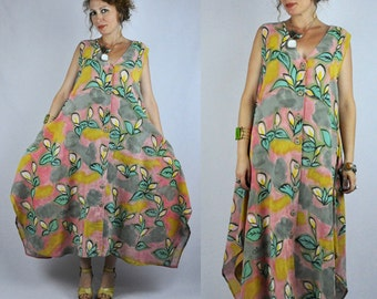 SALE Tent Dress - Floral Dress - Hand Painted - Asymmetrical - Pockets - Button Down Front - Sleeveless Linen Hemp Oversized Boho free OS