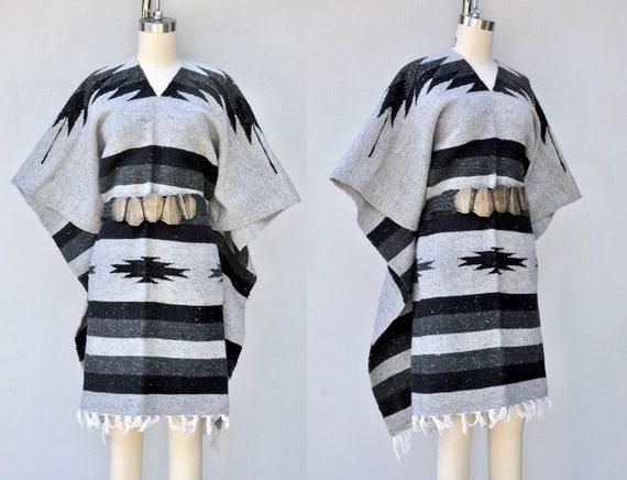 Big Fringed Poncho - Blanket Coat - Blanket Poncho