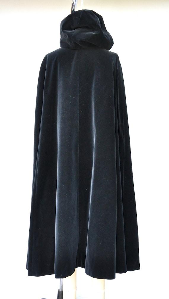 Vintage Hooded Velvet Cape Cloak - Black Velvet C… - image 3