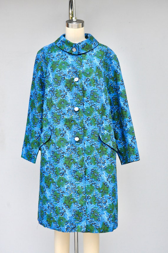 50s 60s Mod Duster Coat - Floral Duster Coat with… - image 5